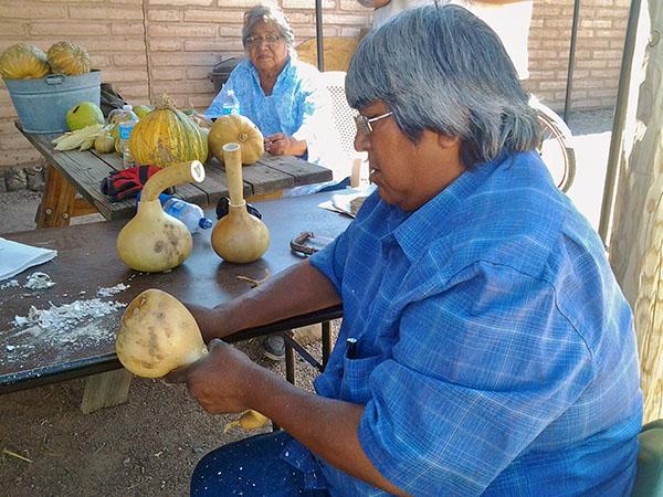 Tohono O'odham elders making rattles